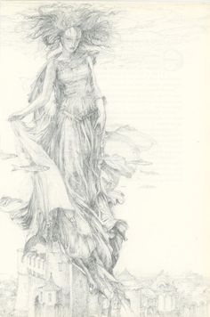 Castle The Lady Of The Lake Woman Underwater Floating Above Kingdom With Fish  by Alan Lee