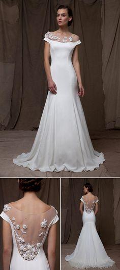 illusion neckline wedding dress by Lela Rose from fall 2014 bridal market   via junebugweddings.com