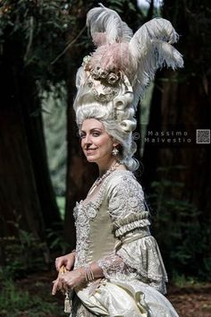 Woman dress 18 century,  taffetas white pearl and  pale grey whith pearls embroided made to: www.anticoatelier.com credit photo: Massimo Malvestio #18century #MarieAntoinette #wigs #VillaRealeMilano