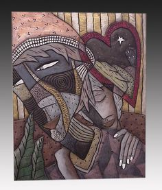 Low relief carved earthenware ceramic wall sculpture. Lovers created by artist David Stabley: available at www.artfulhome.com