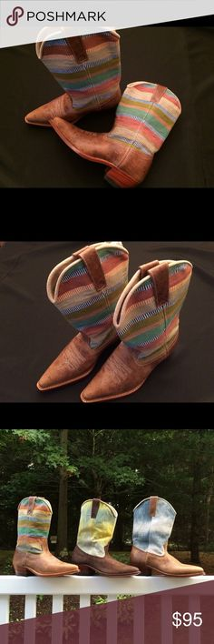 "I'chel Dream ""Cowgal"" Boots Hand crafted. All natural materials. Fair trade. Wood sole. Hand woven, naturally dyed textiles. These tan leather Cowgals feature the Elena textile (named for the woman who weaves this particular textile). Stacked heel. These are new, never worn. Euro size 40. I'xchel Dream Shoes Heeled Boots"