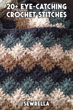 20 Eye-Catching Crochet Stitches - with tutorials These pretty stitches range from beginner to more complex. The tutorials included make it simple to apply these crochet stitches to any pattern. Crochet Stitches For Blankets, Crochet Stitches For Beginners, Crochet Stitches Patterns, Crochet Videos, Baby Blanket Crochet, Baby Afghans, Crochet Afghans, Unique Crochet Stitches, Crochet Dishcloths Free Patterns