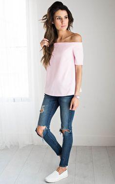 NEW: Off The Shoulder Top - Pink by: ILY COUTURE