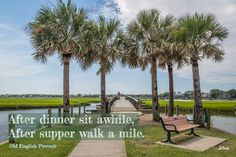 After dinner sit awhile. Pitt St. Bridge. Joan Perry #walkingquote Walking Quotes, Walk A Mile, Old English, Outdoor Furniture, Outdoor Decor, Sidewalk, Dinner, Bridge, Home Decor
