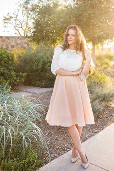 lace top + midi skirt