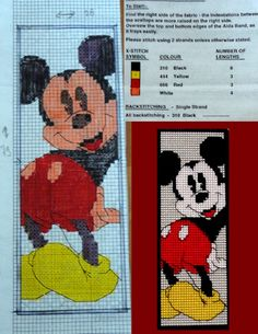 This is a pattern of a bookmark of Mickey Mouse. Can cross stitch this one too :) Cross Stitch Boards, Just Cross Stitch, Cross Stitch Bookmarks, Cross Stitch Needles, Disney Cross Stitch Patterns, Counted Cross Stitch Patterns, Cross Stitch Embroidery, Plastic Canvas Books, Plastic Canvas Patterns