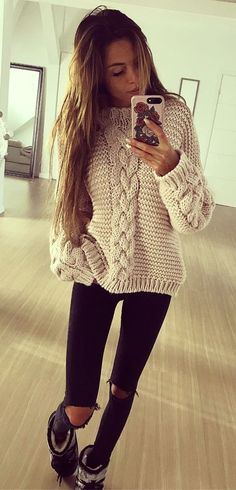 #fall #outfits women's white sweater