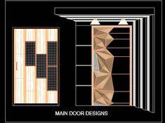 Main Entrance Door Design DWG Block Cad block of a Main door design with wall paneling. It's a flush door, shows front elevation, designed on modern look in diamond cut veneer finish. Main Entrance Door Design, Home Entrance Decor, Front Door Design, Entrance Doors, Window Design, Front Doors, Flush Door Design, Door Design Interior, Wooden Door Design