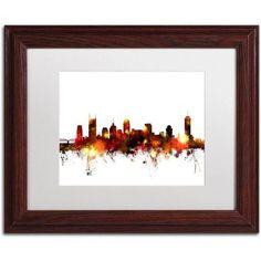 Trademark Fine Art Nashville Tennessee Skyline Red Canvas Art by Michael Tompsett, White Matte, Wood Frame, Size: 11 x 14, Red