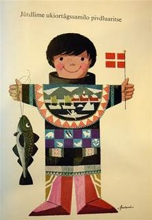 In the old type of Greenlandic it reads: Merry Christmas and Happy New Year to you (all)! From the 1970s