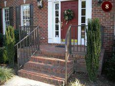 Exterior residential custom wrought iron railings in Raleigh NC - deck, porch rails aluminum and iron - Durham welding, repair, design, fabrication of aluminum & iron beds, balconies, decks, lawn, garden, spiral stairs, gates, fences, railings.