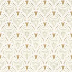 Modern Art Art Deco Fan Wallpaper Gold / Pink Rasch 433227