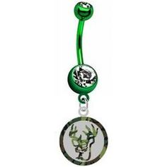 Green silver belly button ring - TheFind