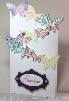 Stampin Nerd: March 2013 -tri fold card with butterflies … Tri Fold Cards, Fancy Fold Cards, Folded Cards, Step Card, Cascading Card, Z Cards, Shaped Cards, Card Making Techniques, Butterfly Cards