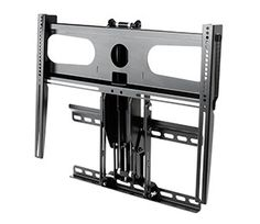 This is the best television mount I've found. It allows me move the television from above my mantel in a downward motion to a proper viewing angle.  However when finished watching the television can be moved back to its place above the mantel. www.DynamicMounting.com