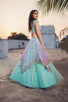 Lehenga Choli Designs, Indian Lehenga, Blue Lehenga, Silk Lehenga, Dress Indian Style, Indian Dresses, Indian Wedding Outfits, Indian Outfits, Wedding Dresses