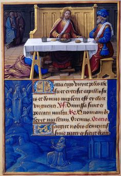 St. Mary Magdalene: Mary Magdalene Washing the Feet of Christ | Border: Levitation of Mary Magdalene | Hours of Henry VIII, in Latin | Illuminated by Jean Poyer | France, Tours | ca. 1500 | The Morgan Library & Museum