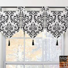 None Arbor Ivory/ Black Banner Valances (Set of These valances feature a # N. - - None Arbor Ivory/ Black Banner Valances (Set of These valances feature a # None Arbor Ivory/ Black Banner Valances (Set of These valances feature a Kitchen Window Coverings, Kitchen Window Valances, Valance Window Treatments, Kitchen Window Treatments, Kitchen Curtains, Valance Patterns, Curtains And Draperies, Diy Curtains, Black Banner