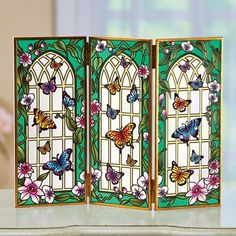 Stained-glass Style Tabletop Butterfly Glass Screen   Collections Etc. Wildlife Decor, Collections Etc, Room Accessories, Amazing Grace, Glass Screen, Suncatchers, Stained Glass, Glass Art, Butterfly