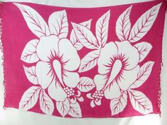 giant white hibiscus sarong on fuchsia background beachwear manufacturer $5.25 - http://www.wholesalesarong.com/blog/giant-white-hibiscus-sarong-on-fuchsia-background-beachwear-manufacturer-5-25/