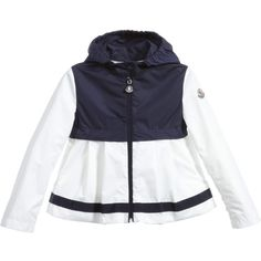 Girls sweet lightweight hooded jacket by Moncler, made with silky feel polyester and full lining. It has a navy blue across the shoulders and hood, with white sleeves and flared hem. It fastens with a zip and a popper at the neck, has grosgrain ribbon trims and a designer logo on the sleeve.<br /> <ul> <li>100% polyester (silky feel)</li> <li>Fully lined</li> <li>Machine wash (30*C)</li> <li>True to size fitting</li> <li>Hooded</li> <li>Zip fastening</li> <li>Style name: 'Thais'</li…