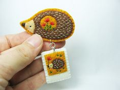 Hedgehog Stories in Tiny Polaroid Felt Brooch