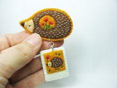 Hedgehog Stories in Tiny Polaroid Felt Brooch