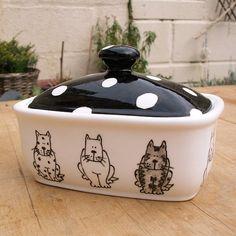Cats Hand Painted English Bone China Butterdish Butter dish Black and white polka dot tabby