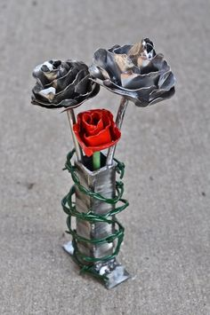 Metal vase with vines by MuddyRiverIronWorks on Etsy, $25.00
