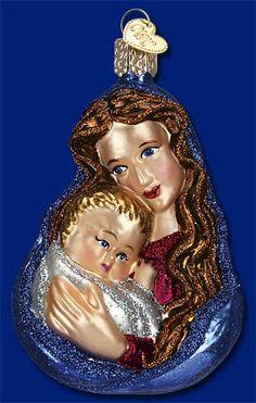 "Old World ""Glistening Madonna /& Child"" Christmas Ornament Blown Glass 2010 NWT"
