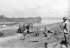 January 9, 1945. Unloading operations at White Beach Two, Luzon during Lingayen Gulf invasion operations by US Task Force LST 469 off shore. As seen from USS FELAND (APA 11)
