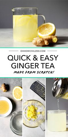Quick and easy ginger tea from scratch! Ginger, lemon, and sweetened with honey. This is great for soothing sore throats and giving your immune system a boost. #gingertea #tea  #tearecipes #drinkrecipes #herbaltea #easyrecipe #EffectsOfGreenCoffeeBeanWeightLoss