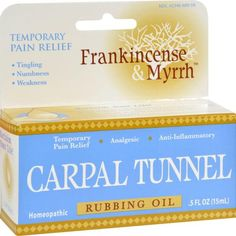 Frankincense and Myrrh Carpal Tunnel is specifically formulated to deliver temporary topical pain relief for symptoms of carpal tunnel. The plant extract formul