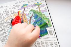 Godzilla - Adult coloring pages by ColoringNotebook. Paper notebook with coloring pages for adults. Tags: #godzilla, #town, #boy #hand, #adult #coloring #pages.