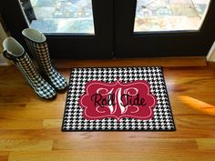 Roll tides Alabama Personalized Door Mat Monogram Floor Mat Houndstooth Initial on Etsy, $30.00