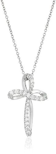 PlatinumPlated Sterling Silver Swarovski Zirconia Whimsical Cross Pendant Necklace 162 Extender * Read more  at the image link.Note:It is affiliate link to Amazon.