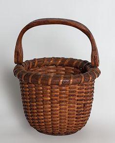 "Small ""One Egg"" Nantucket lightship basket French Baskets, Old Baskets, Woven Baskets, Vintage Baskets, Basket Weaving, Egg Basket, Rattan Basket, Basket Bag, Painted Baskets"