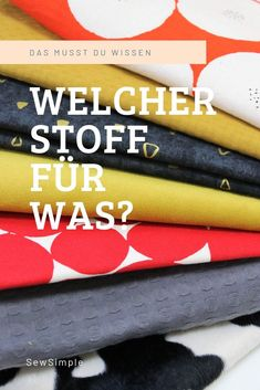 Mach dich schlau: Welcher Stoff für was? Which material for what? This is a frequently asked questio Sewing Hacks, Sewing Tutorials, Sewing Tips, Sewing Patterns Free, Crochet Patterns, Crochet Designs, Belleza Diy, Modelista, Leftover Fabric