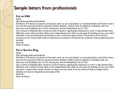 Emotional Support Animal Letter Sample Therapy Pinterest