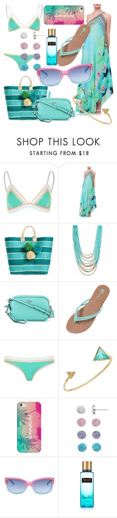 """""""Summer Lovin"""" by lulularouche ❤ liked on Polyvore featuring River Island, Mar y Sol, Coach, Volcom, Alexis Bittar, Casetify, Steve Madden and Victoria's Secret"""
