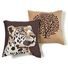 Vern Yip Home Leopard Decorative Pillow Pair at HSN.com - consider looking for PART of fabric for pillow - like the animal print
