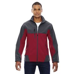 Compass Colorblock Three-Layer Bonded Soft Shell Men's Molten Red 751 Jacket