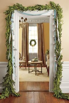 The Ultimate Holiday Decorating Guide Southern Christmas Essentials: The Doorway. The Ultimate Holiday Decorating Guide Southern Christmas Essentials: The Doorway We're gifting yo Christmas Lights Outside, Christmas House Lights, Christmas Greenery, Christmas Diy, Xmas, Christmas Staircase, Christmas Hamper, Christmas Mantels, Outdoor Christmas