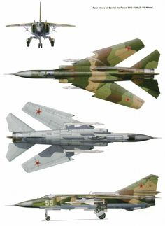 """Mikoyan-Gurevich MiG 23 - An adept interceptor with fighter capabilities a level above those featured in the MiG-21 preceding it, especially range, the MiG-23 was nicknamed the """"Flogger"""" by NATO for it could easily engage (and down) the best fighters the west had to offer. Like many Soviet fighters, it was developed in a multitude of variants, some of which still serve today."""