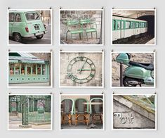 Paris Photography Collection, Green Large Wall Art Prints, Mint Paris Decor, NR on Etsy, 66,91 €