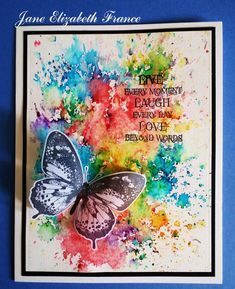 Janes World: Flutterby Butterfly Cards, Flower Cards, Butterfly Artwork, Card Making Inspiration, Making Ideas, Watercolor Beginner, Alcohol Ink Crafts, Rainbow Card, Bee Cards