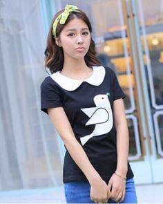 Cartoon bird womens peter pan collar shirt black and pink t shirt