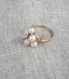 Freshwater Pearl Cluster 14K Gold Filled Wire by KatherineGiftShop, $23.00