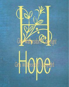 Typography Digital File Hope Blue Chalk by GinaWaltersdorffArt, $6.00