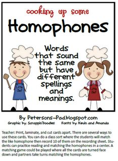 This activity for homophones can be used individually, with a partner, or with the whole class. Homophones are words that sound the same but they are spelled differently and they have different meanings. Homophones Words, Phonics Words, Classroom Language, Classroom Fun, Professor, Word Work, Word Study, First Grade Reading, Language Activities